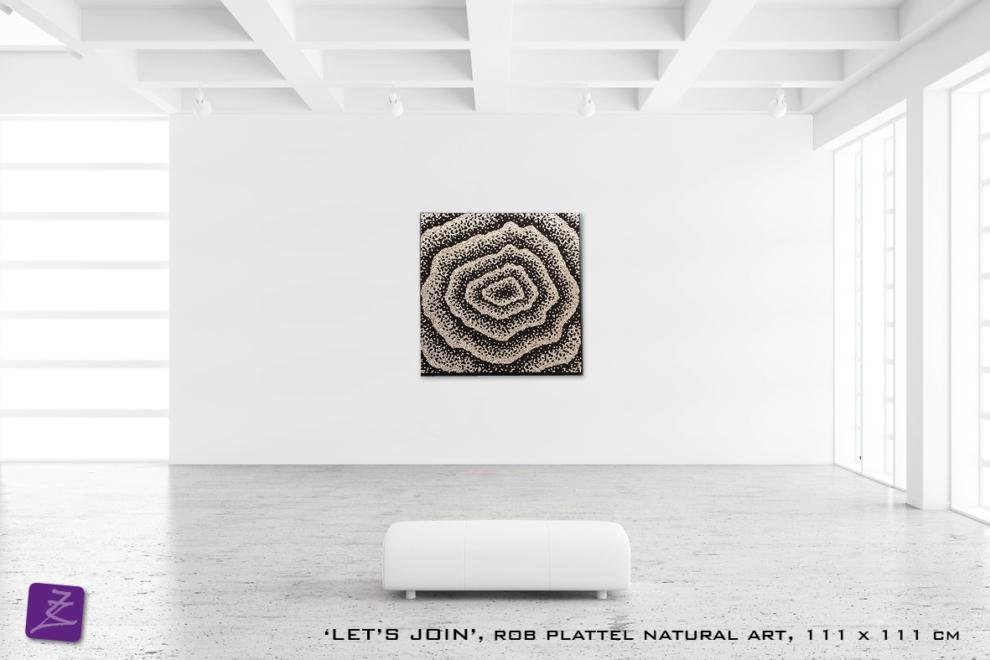 natural art Rob Plattel LET'S JOIN galerie Zeven Zomers nijmegen natuur kunst te koop natural rhythms hout salix almus yin yang