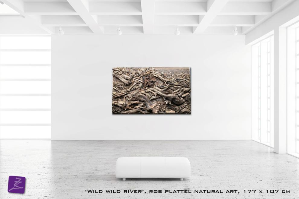 natural art Rob Plattel WILD WILD RIVER galerie Zeven Zomers nijmegen natuur kunst te koop natural rhythms hout drijfhout perspectief