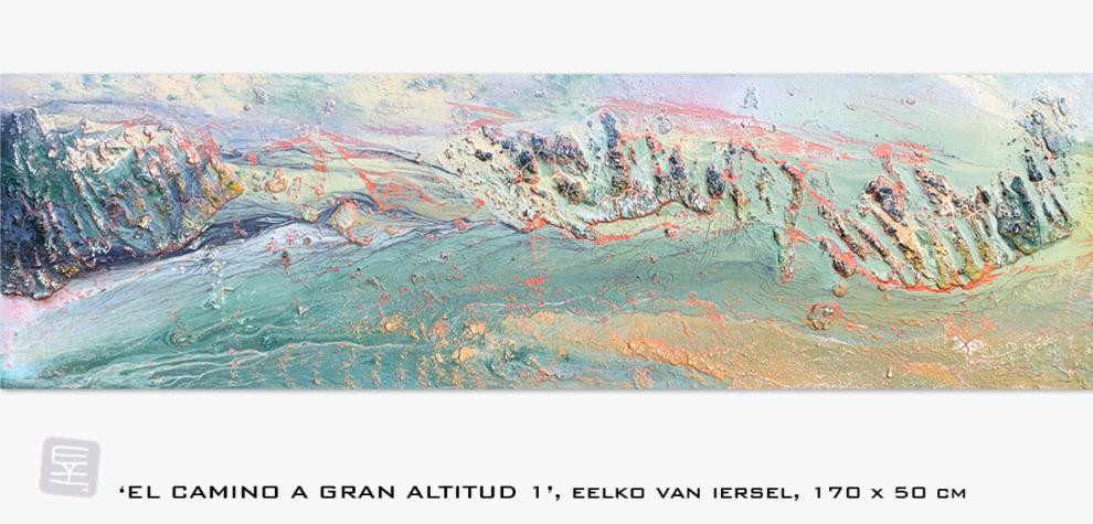 Schilderij Eelko van Iersel, olieverf en zand op doek abstract abstractpainting colourfield spiritueel reis landschap kleurrijk Himalaya Phuktal inspiratie Ladakh Nepal India sneeuw