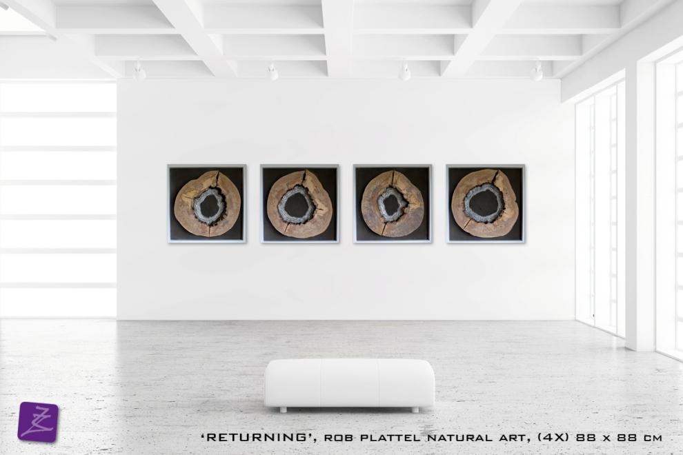 natural art Rob Plattel RETURNING galerie Zeven Zomers natuurlijke materialen berk hout natuurkunst